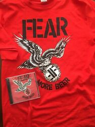 Fear More Beer New Large Shirt And Sealed Cd Lee Ving Punk Hardcore 80's