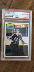 1980-81 Topps Vintage Signed Auto Oilers Leaders Card Wayne Gretzky Psa Dna 182