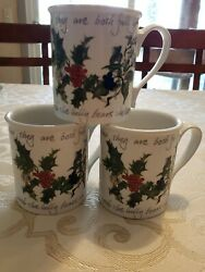 Set Of 3 Portmeirion The Holly And The Ivy Mugs - 1995 Christmas Coffee Cups