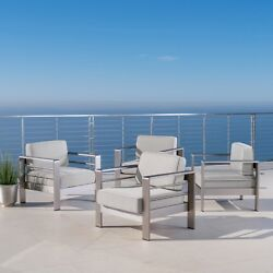 Cape Coral Outdoor Club Chair With Cushion Set Of 4 Cast Sunbrella
