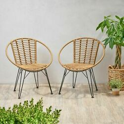 Winnie Outdoor Wicker Dining Chairs Set Of 2