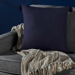 Noble Traditional Square Fabric Throw Pillow With Tassel Accents