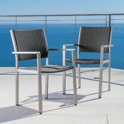 Coral Bay Outdoor Wicker Dining Chairs W/ Aluminum Frame Set Of 2