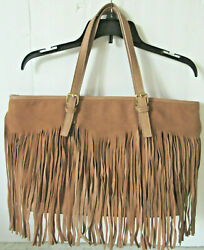 Nwot Charming Charlies Womens Large Tote Bag Western Style Brown With Tan Fringe