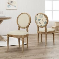 Reed Upholstered Farmhouse Dining Chairs Set Of 2