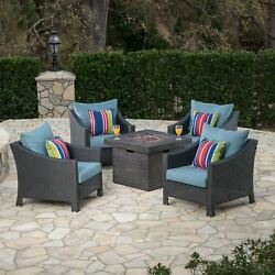 Andrew Outdoor 5 Piece Wicker Water Resistant Cushion Chat Set With Fire Pit