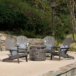 David Outdoor 5 Piece Adirondack Chair Set With Fire Pit