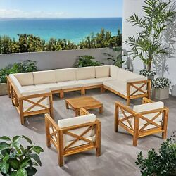 Isabella Outdoor 11 Seater Acacia Wood Sectional Sofa And Club Chair Set
