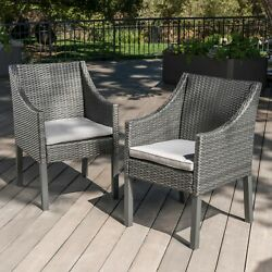 Antioch Outdoor Wicker Dining Chairs With Water Resistant Cushions Set Of 2