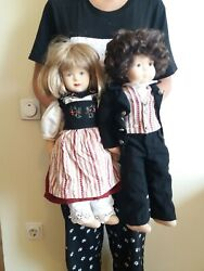 Lot Of 2 Vintage Stockinette Cloth Fabric Ethnic Dolls,molded Face,20