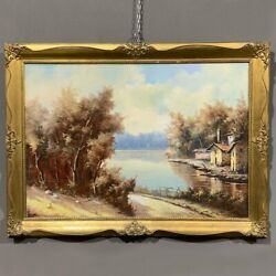 Antique Original Italian Oil Painting On Canvas Landscape Signed And Framed