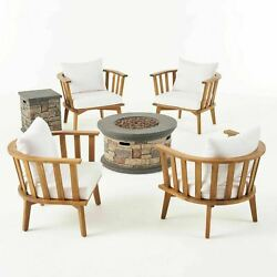 Julianna Outdoor Acacia Wood 4 Seater Club Chairs And Fire Pit Set