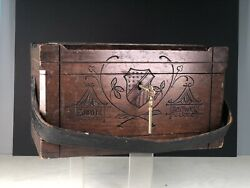 Antique Walnut Chest Document Box Decorated Federal Shield Signed , Keys Work