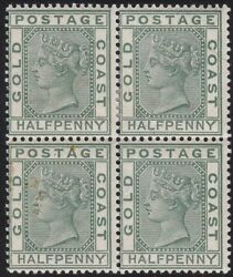 1884 Gold Coast, Sg 11 In Block Of Four Mlh / Mnh - Brown Spots On One Stamp