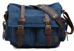 Vintage Military Leather Canvas Laptop Bag Messenger Bags small 13'' blue $46.04