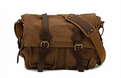 Vintage Military Leather Canvas Laptop Bag Messenger Bags small 13'' Coffee $45.92