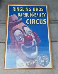 Ringling Bros. And Barnum And Bailey Combined Shows Vintage Clown Circus Poster