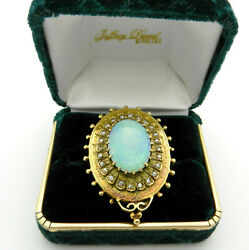Antique Vintage Large Gold Opal Brooch Pin With Rose Old Cut Diamonds Accent