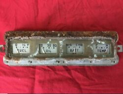 1942-1948 Ford Gauge Cluster Hot Rod Classic Fuel Oil Battery Temp Glass Used