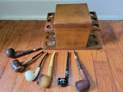 Vintage Deco Walnut Wood Pipe Stand And Hinged Lid Humidor With 6 Pipes. C-437