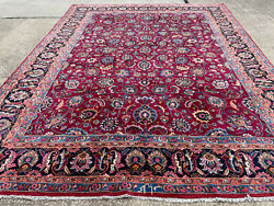 Big Vintage Wool Rug 10x13 Hand-knotted Red Antique Handmade Traditional Carpet