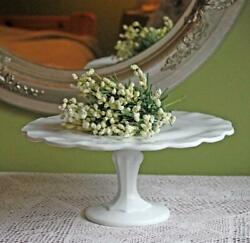 Milk Glass Footed Cake Stand - Scalloped Rim