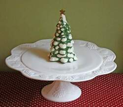 Milk Glass Footed Cake Stand Dessert Tray - Grapes Andleaves