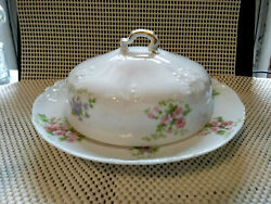 Antique Charles Ahrenfeldt Limoges - Delicate Floral - Round Covered Butter Dish