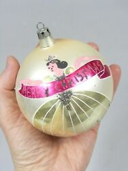 Vintage Mercury Glass Jumbo Pictured Gold Girl Merry Christmas Ornament Poland