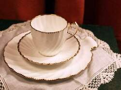 Gladstone Old Grecian Flute Bone China Breakfast Set - Cup, Saucer, Plate