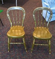 2 Ethan Allen Heirloom Maple Green Decorated Farmhouse Chairs - Free Shipping