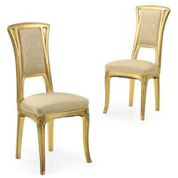 20th Century Pair Of Art Nouveau Carved Giltwood Antique Side Chairs