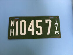Early Nh New Hampshire 1916 Porcelain Enamel Green And White License Plate