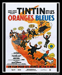 Tintin The Blue Oranges 4k 4x6 Ft Vintage French Grande Movie Poster Rerelease