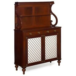 English Regency Antique Mahogany And Brass-mounted Chiffonier Cabinet, 19th C