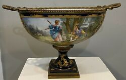 Beautiful Huge 19c French Sevres Porcelain Bronze Centerpiece Bowl Signed Marin