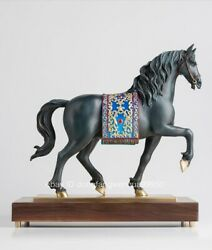 Copper Black Walnut Wood Fengshui Ancient Andalusian Horse Steed Art Sculpture