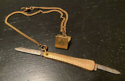Hayward Antique Gold Filled Watch Fob Chain Pocket Knife Masonic Picture Locket