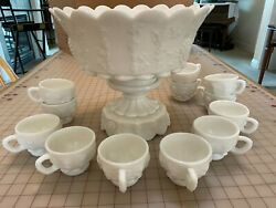 Westmoreland 12 White Milk Glass Paneled Grape 2 Piece Punch Bowl W/ 12 Cups