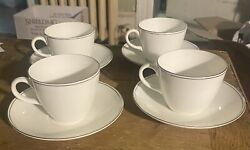 4 Wedgwood Doric Small Cups And Saucers White W Double Platinum Rim
