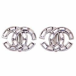 Authentic Vintage Clip On Earrings Cc Logo Rhinestone Silver Af316