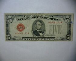 1928 C Five Dollar 5 Red Seal Star Note U.s Note Rare U.s Currency