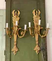 Antique Original French Louis Xvi Style Pair Gild Bronze Wall Sconce And039circa 1850