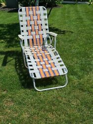 Vintage Aluminum Webbed Chaise Lounge Lawn Chair Mid Century Modern