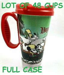 Lot Of 48 Cups Disney Parks Happy Holiday Travel Mug Cup Lid Mickey Christmas