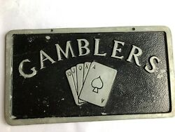 Gamblers - Vintage Car Club Plaque Made Of Aluminum And 18 Wheeler Wood Truck