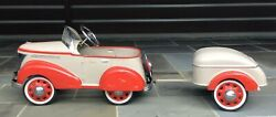 1937 Skippy Ford Coupe Pressed Steel Vintage Antique Pedal Tin Car W/ Trailer