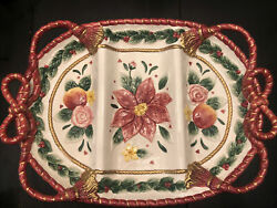 Fitz And Floyd Christmas Red Bow Divided Platter Bows, Flowers And Fruit 1995