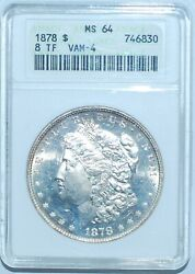 1878 8tf Anacs Ms64 Vam-4 Doubled Date 8 Tail Feathers Morgan Silver Dollar