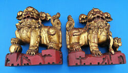 Pair 1900s Antique Chinese Hand Carved Wood Temple Foo Dog Lion Gilt Red Statue